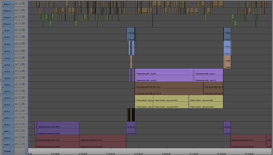 Video audio syncing screen shot of computer editing application timeline showing large collection of audio tracks