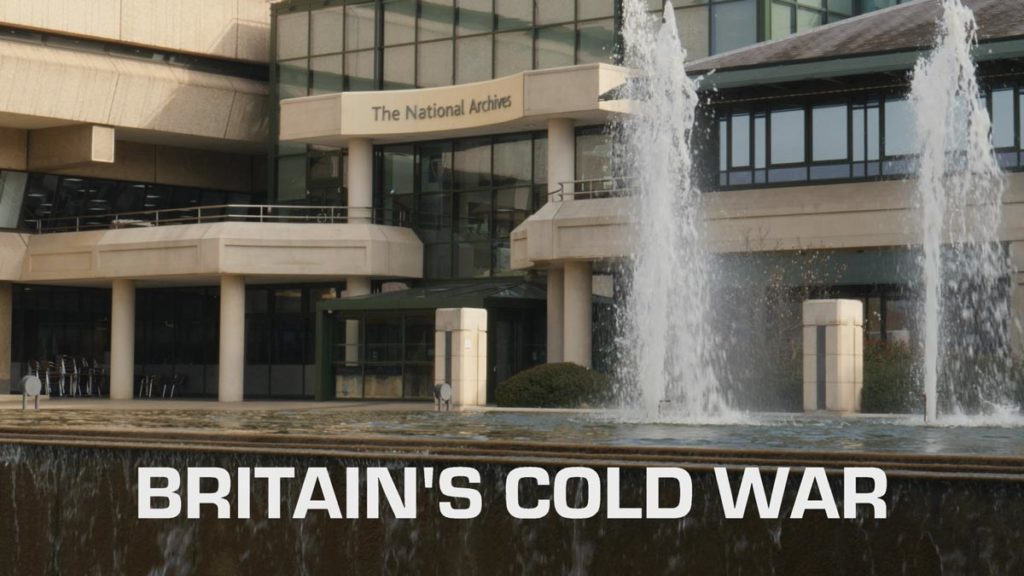 Exhibition video showing The National Archives building and water fountain feature